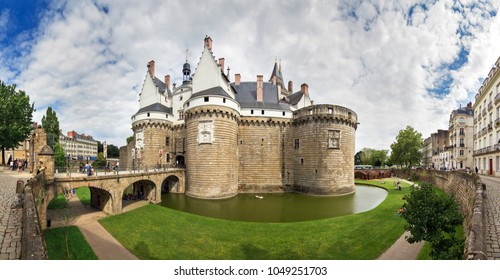 NANTES, FRANCE - JULY 29, 2014: Beautiful panoramic cityscape of The Château des ducs de Bretagne (Castle of the Dukes of Brittany) a castle located in the city of Nantes, France, on july 29, 2014