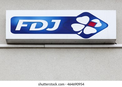 Nantes, France - June 25, 2016: Francaise des Jeux also called FDJ is the operator of national lottery games in France and the title sponsor of the Francaise des Jeux cycling team