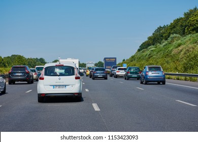 Nantes, France - June 30, 2018: Traffic jam on a French highway N165/E60 in the summer holidays near Nantes.