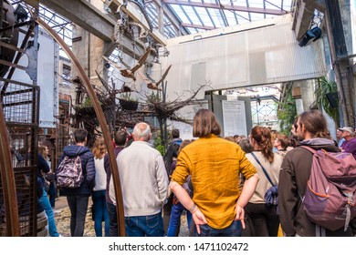Nantes, France - May 12, 2019: Tourists get acquainted with the exhibits the Hangar des Machines is part of the Machines of the Isle of Nantes, France