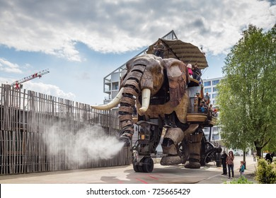 Nantes, France - May 3, 2017: The Great Elephant is part of the Machines of the Isle of Nantes carrying passengers in city square in Nantes, France