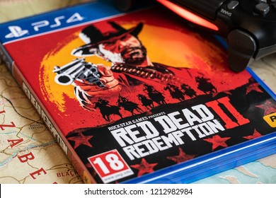 NANTES, FRANCE - OCTOBER 26, 2018: Red Dead Redemption 2 game release for PS4 on October 26,2018. in Nantes, France.