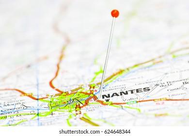 Nantes, France. Red pin.
