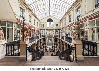 NANTES, FRANCE - SEPTEMBER 16, 2018: Passage Pommeraye is a shopping mall in the centre of Nantes city in France