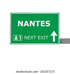 NANTES road sign isolated on white