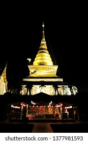 NAN,THAILAND - DECEMBER 6, 2018 : Wat Phra That Chang Kham at night have Pagodas and churches is a famous tourist attraction.