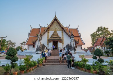 Nan,Thailand - October 7, 2018 : The tourists visit Wat Phu Min, one of the most famous temples in Nan province,Thailand.