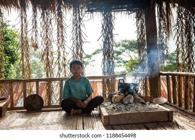NAN,THAILAND -SEPTEMBER 13,2018: Underprivileged children,Study in the wilderness,poor and needy.,The story of rural people's way of life. Karen is with nature on the jungle.