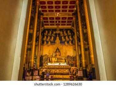 Nan,Thailand-January 7, 2019 :Sri Pan Ton temple or Wat Sri Pan Ton in Nan, Thailand