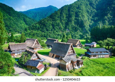 Nanto, Japan - Jul 31 2017- Gassho-zukuri houses at Suganuma village, Gokayama area, Nanto City, Toyama Prefecture, Japan. UNESCO World Heritage Site - Historic Villages of Shirakawa-go and Gokayama.