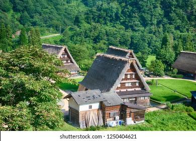 Nanto, Japan - Jul 31 2017- Gassho-zukuri houses at Suganuma village, Gokayama area, Nanto City, Toyama Prefecture, Japan. UNESCO World Heritage Site - Historic Villages of Shirakawa-go and Gokayama.