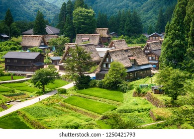 Nanto, Japan - Jul 31 2017- Gassho-zukuri houses at Ainokura village, Gokayama area, Nanto City, Toyama Prefecture, Japan. UNESCO World Heritage Site - Historic Villages of Shirakawa-go and Gokayama.