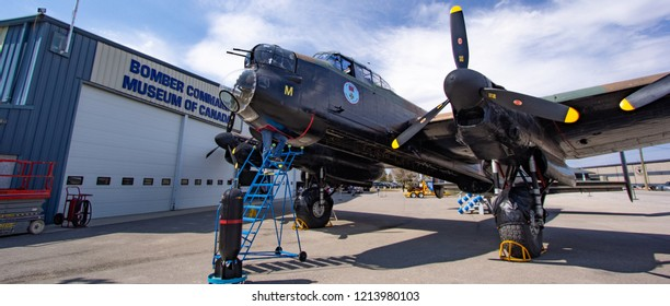 NANTON, AB - April 28, 2018 The Bomber Command Museum's Avro Lancaster sits in front of the museum building before the day's engine runs