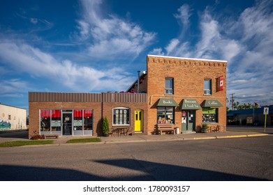 Nanton, Alberta - July 17, 2020:  A book store and cafe in Nanton Alberta in the evening. Alberta has many beautiful small towns.