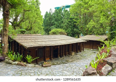 Nantou City, Taiwan - July 15 , 2017 : Atayal Chief's House at Taiwan Aboriginal houses at Formosan Aboriginal Culture Village in Taiwan.