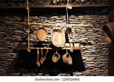 Nantou City, Taiwan - July 15 , 2017 : tableware at Taiwan Aboriginal houses at Formosan Aboriginal Culture Village in Taiwan.