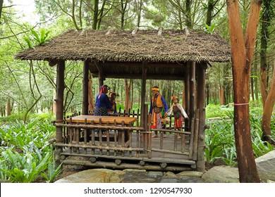 Nantou City, Taiwan - July 15 , 2017 : Taiwan Aboriginal houses at Formosan Aboriginal Culture Village in Taiwan.