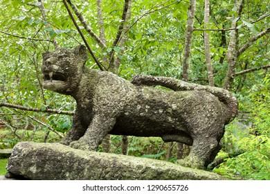 Nantou City, Taiwan - July 15 , 2017 : A tiger sculpture at Taiwan Aboriginal houses at Formosan Aboriginal Culture Village in Taiwan.
