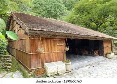 Nantou City, Taiwan - July 15 , 2017 : Rukai Men's House at Taiwan Aboriginal houses at Formosan Aboriginal Culture Village in Taiwan.