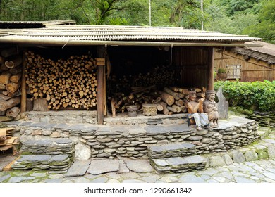 Nantou City, Taiwan - July 15 , 2017 : firewood at Taiwan Aboriginal houses at Formosan Aboriginal Culture Village in Taiwan.