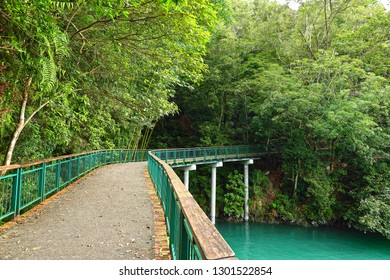 Nantou City , Taiwan - July 15,2017 : The cycling routes at Sun Moon Lake in Taiwan