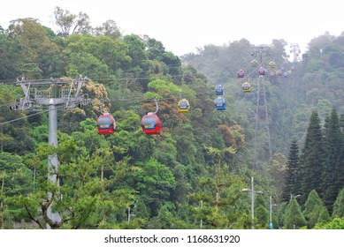 Nantou County, TAIWAN - 1 May, 2016 : The Sun Moon Lake Ropeway is a scenic gondola cable car service that connects Sun Moon Lake with the Formosa Aboriginal Culture Village.