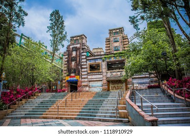 Nantou County, Taiwan - May 10 2018: One of the amusement isle called Mayan Adventure located inside the Formosan Aboriginal Culture Village in Yuchi Township.