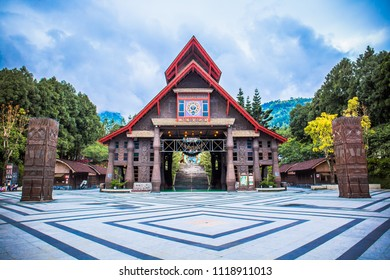 Nantou County, Taiwan - May 10 2018: Culture Square of Formosan Aboriginal Culture Village