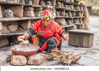 Nantou County, Yuchi Township / Taiwan - 06.17.2019: Taiwanese indigenous peoples in Formosan Aboriginal Culture Village