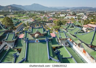 Nantou, Puli, Taiwan - FEB 8th, 2019: roofs of famous Baohu Dimu Temple in the daytime