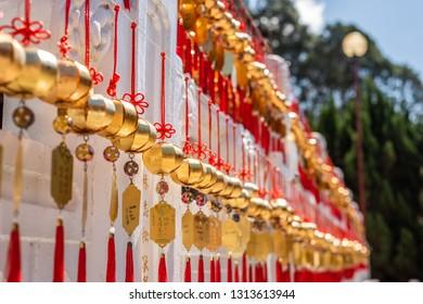 Nantou, Taiwan - FEB 12th, 2019: wall of wish in Wenwu Temple near Sun Moon Lake at Yuchi, Nantou, Taiwan, Asia