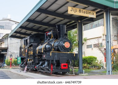 NANTOU, TAIWAN - Mar 06 2017: Steam Locomotive at Jiji Station. This is on the Taiwan Railways Administration (TRA) Jiji Line located in Jiji Township, Nantou County, Taiwan.