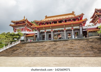 Nantou, Taiwan - May 30th, 2019: famous landmark of Wenwu temple in Sun Moon Lake, Nantou, Taiwan