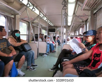 Nantou / Taiwan - October 20, 2012 People were taking a train.