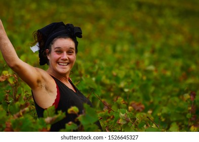Nantoux/Burgundy, France - august 31st 2017; seasonal workers during the grape harvest season during the break. many wine estates still do the grape picking by hand, which attracts a variety of people
