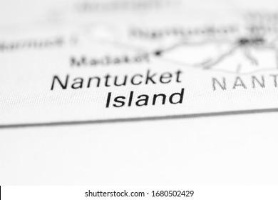 Nantucket Island. Massachusetts. USA on a geography map