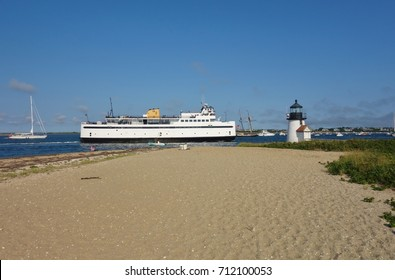 NANTUCKET, MA -4 AUG 2017- A Steamship Authority ferry arriving on Nantucket Island in Massachusetts. Nantucket is an exclusive preppy summer destination off of Cape Cod near Boston.