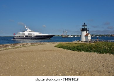 NANTUCKET, MA -4 AUG 2017- The United States Coast Guard Station and lighthouse in Brant Point on Nantucket Island in Massachusetts.