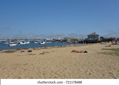 NANTUCKET, MA -4 AUG 2017- View of the beach near Nantucket Harbor on Nantucket Island in Massachusetts. Nantucket is an exclusive preppy summer destination off of Cape Cod near Boston.