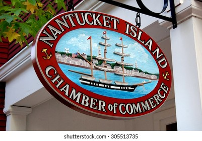 Nantucket, Massachusetts - October 12, 2009:  Charming sign depicting an early 19th century whaling ship at the Chamber of Commerce