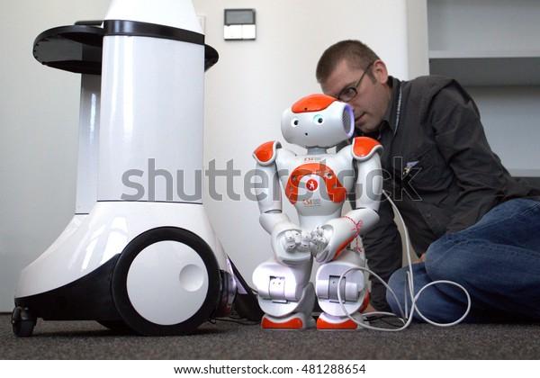 Nao robot, autonomous programmable humanoid robot, Sofia, Bulgaria, April 21, 2016