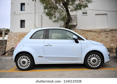 NAOUSSA, GREECE - MARCH 27: New Fiat 500 car in the street of Naoussa, Greece on March 27, 2018.