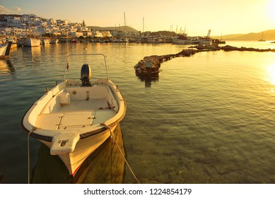 Naoussa village and harbor at sunset - Aegean Sea - Paros Cyclades island - Greece