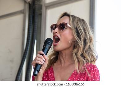 NAPA, CA - MAY 27, 2018: Giada De Laurentiis and Halsey at the Williams Sonoma stage at BottleRock Napa Valley in Napa, CA