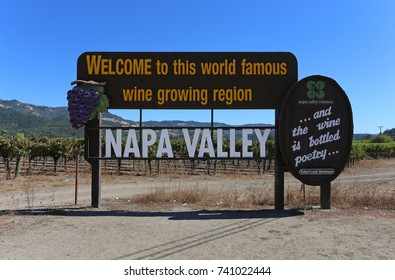 NAPA, CA - OCTOBER 5: The Welcome to Napa Valley sign in Napa, California on October 5, 2016. The Napa Valley is world famous for its grape crops and wine production.