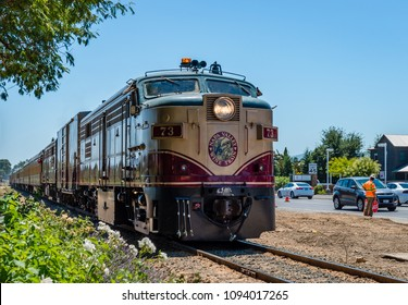 Napa, CA / USA - July 15, 2015: The Napa Valley Wine Train. It's a privately-operated excursion train that runs between Napa and St. Helena, passing through vineyards and wineries.