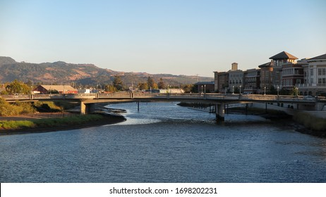 Napa, California; September 2016: View of the Napa riverfront at sunset - Shutterstock ID 1698202231