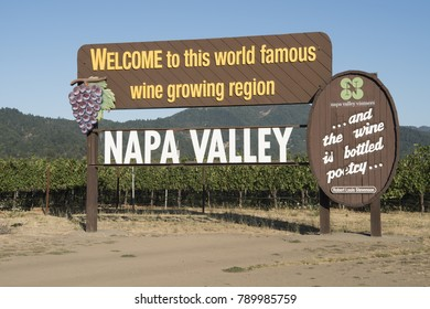 Napa, California, United States - July 27, 2017: Famous Entrance Sign Vineyards Napa California