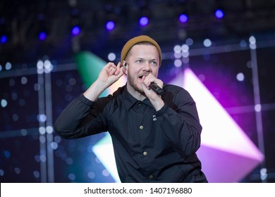 Napa, CA/USA: 5/24/19: Dan Reynolds sings lead vocals for Imagine Dragons at BottleRock in Napa. They've won American Music Awards, Billboard Music Awards and a Grammy.
