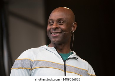 Napa, CA/USA: 5/25/19: Jerry Rice speaks to the crowd at BottleRock. He's a 3 time Super Bowl Champion, NFL Most Valuable Player, Pro Football Hall of Fame.